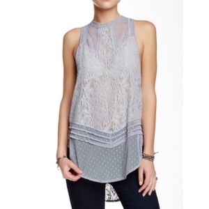 Free People High Neck Lace Tank Tom top